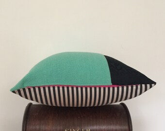 """I am a Cushion – recycled & repurposed textiles, complete with recycled insides - 50x50cm/20""""x20"""" - green / black + white"""