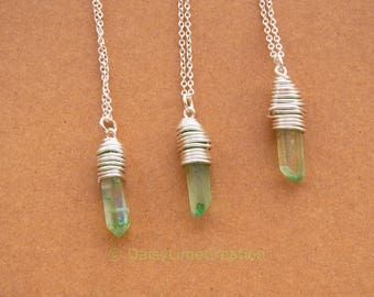 Healing Chakra Point Pendant Silver Plated Necklace Wire Wrapped Rock Crystal Necklace Gift