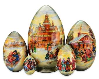 """Egg nesting doll """"Russian Winter"""""""