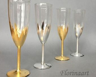 Silver Wedding glasses, Silver anniversary glasses, 25th anniversary gift glasses, Wine glasses