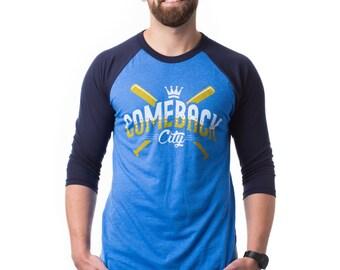 Kansas City T Shirt - Comeback City - 3/4 Sleeve T-Shirt - Local Pride KC Shirt