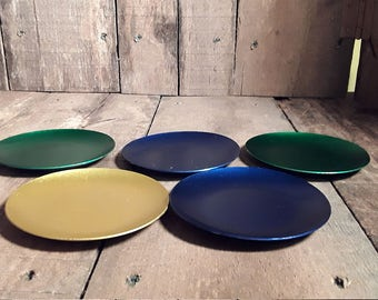 Vintage 1950s Retro Anodised Aluminium Coasters Set of 5-- 2-Green, 2- Blue &  1-Gold  1950s Barware