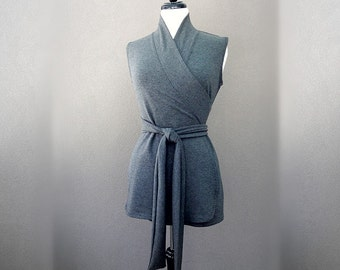 Sleeveless shawl wrap shirt, wrap top in grey or more colors, handmade clothes for women