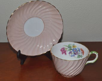 Vintage Aynsley Pink Tea Cup & Saucer, Bone China England Pink Floral Gold Edged