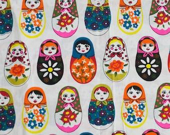 Vintage matryoshka fabric - 100x50 cm.