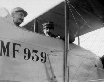 French Military Airplane with pilots WW1 MF 939