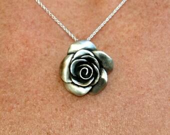 Rose flower necklace, rosebud, floral jewelry, beauty, femininity, romance, sensitivity symbol, sterling silver Valentine's day jewelry