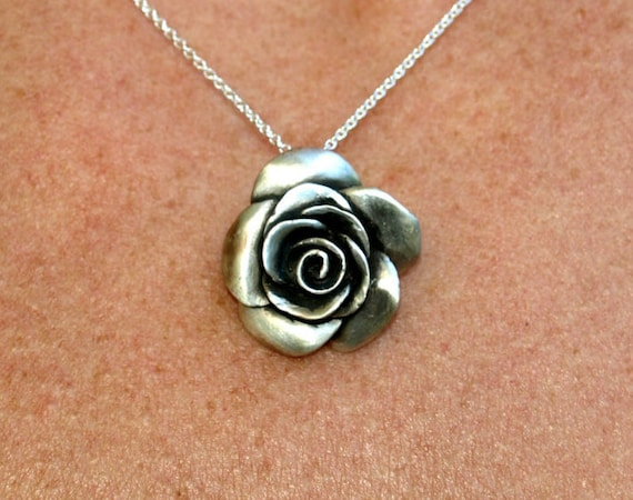 Rose flower necklace, rosebud, floral jewelry, beauty, femininity, romance, sensitivity symbol, sterling silver Valentine's day jewelry