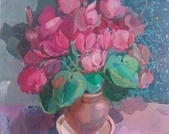 Original painting, Vintage gouache Still-life, Original Home Decor, floral still-life, Cyclamen flowers,Floral wall art,Pink flower in a pot