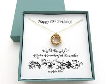 80th Birthday, Gold Filled Necklace, 80th Birthday Gift, 8th Anniversary, 80th Birthday Gift for Women, Gold Ring Necklace, MarciaHDesigns