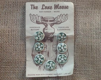 Vintage Handmade Porcelain And Stoneware Buttons--The Lone Moose Bar Harbor, Maine--Seven (7) Buttons Still On Card--Vintage Notions