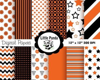 60% OFF SALE Basketball Digital Paper Pack, Scrapbook Papers, 12 jpg files 12 x 12  - Instant Download - D144