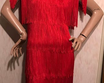 Vintage Flapper Style 1980's Valentines Red Fringe Dress- Lew Magram Collection New York - Size 10