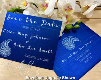 White Nautilus Shell Save the Date card Outdoor Beach Wedding Event