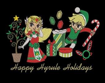Zelda Machine Embroidery Design - Christmas Hyrule Holidays Design 5x7