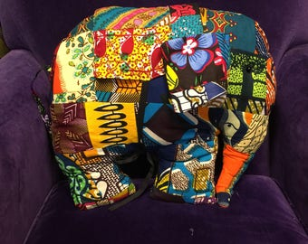 Elephant Cushion - African Pillow - Elephant Decoration - Animal Pillow - Patchwork Cushion - African Decorative Cushion - African Homewear