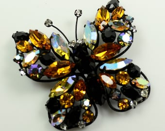Regency Butterfly Set—Rhinestone Pin and Earrings Set in Japanned Metal