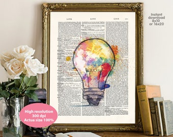 Creative lighting decor - Creative decor - Creative Poster -  Poster Dictionary art, Dictionary Art - Print Wall Decor, Nursery Wall Art