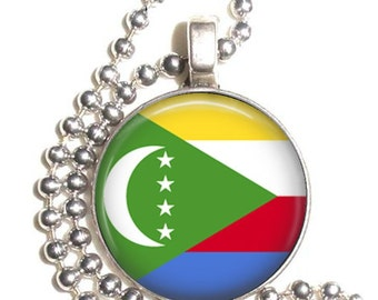 Comoros Flag Art Pendant, Earrings and/or Keychain, Round Photo Silver and Resin Charm Jewelry, Flag Earrings, Flag Key Fob