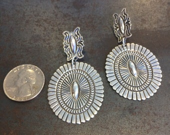 Lightweight stamped concha style earrings, southwestern, post with drop.