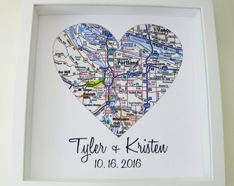 Wedding Day Gift for Bride City Map Poster Heart Map FRAMED Print Bride Gift from Groom Bride Gift from Mother Bride Gift from Maid of Honor