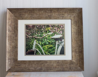 Vintage Bicycle Print, Framed Art Photography, Old Shabby Chic Bike in Garden