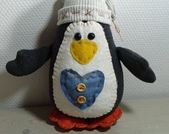 Grey Penguin with Beanie