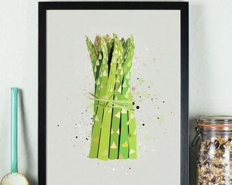 Kitchen Print - Asparagus  - kitchen prints - art prints - wall art prints - wall prints - food art - vegan - vegetarian