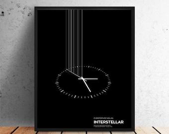 Interstellar movie poster, props, minimalist art, print, home wall decor, retro, cinema space, christopher nolan, matthew mcConaughey sci fi