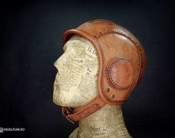 Aviator Hat - Steampunk Helmet - Leather Cap