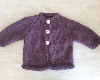 Newborn knit baby Cardigan hand made fancy buttons print Violet Purple color