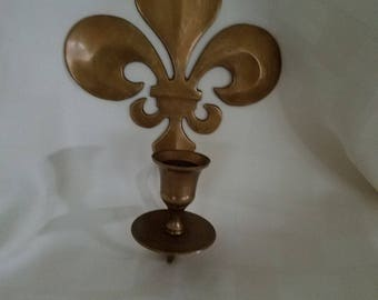 Brass fleur de lis candleholder sconce