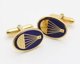 1990s Hot Air Balloon Cuff Links Gold Plated Metal with Blue Inlay Mens Shirt Cufflinks