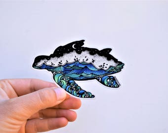 "Sea Turtle sticker 4"" Weatherproof and durable, Outdoor sticker, Travel sticker, Wanderlust, Galaxy, Moon sticker, Ocean sticker"