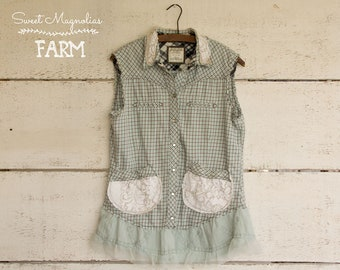 Flannel Sleeveless Shirt - Tunic - Size Small - Boho Clothing - Upcycled - Light Blue White Plaid Vintage Lace pockets flower Shabby Chic
