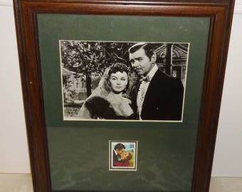 Vintage Gone With The Wind Stamp Photo Framed Scarlett O'Hara Rhett Butler GWTW