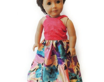 "Hot Pink Velvet Ball Gown ~ 18 in Doll Dress ~ Floral skirt Fits American Girl ~ Floor Length ~ Jeweled Rainbow 18"" Doll Clothes"