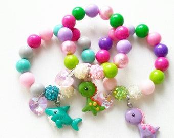 Dinosaurs and shark charm bracelet (stretchy bracelets)