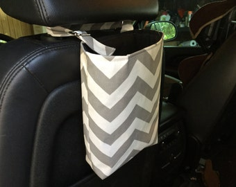 Chevron Gray and white car trash bag/accessory holder with adjustable strap