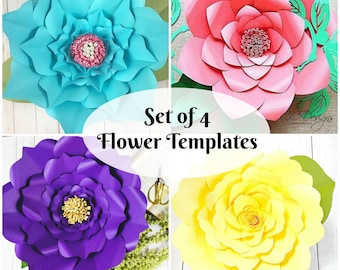 Set of 4 Easy Giant Paper Flower Templates, Paper Flower SVG Cut Files, Large Flower Templates, PDF Printables