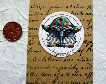 Italian Clown Apple Watercolor Painting Original Miniature Drawlloween Art