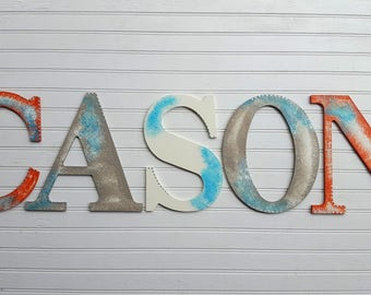 Painted Name Wall Letters - Kids Name Letters - Large 9.5 Inch - Nursery Letters - Rustic Decor