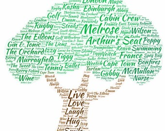 Personalised Word Frame in the shape of a Tree
