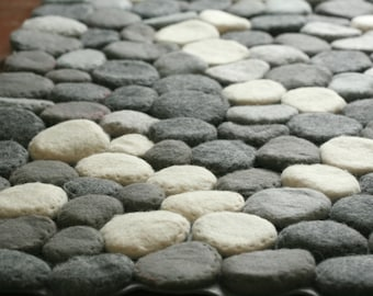 Hand Felted rug with grey stones