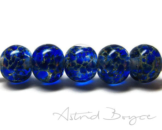 Intensity Lampwork Glass Beads - Silver and Intense Blue Glass Transparent High Fashion Color Brilliant Blue Glass- Self-representing Artist
