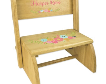 Personalized Spring Floral Natural Wooden Folding Stool And Seat