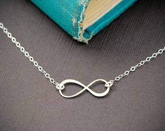 Infinity Necklace, Sterling Silver Infinity, Everyday Jewelry, Layering Necklace, Bridesmaid Gift Idea,  Meaningful Necklace, Gift Idea