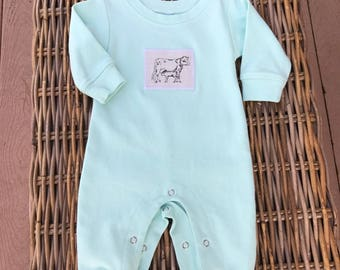 READY to SHIP . 0/3m infant sleeper . Mint Green . Only 1 available . Ships in 1-2 days