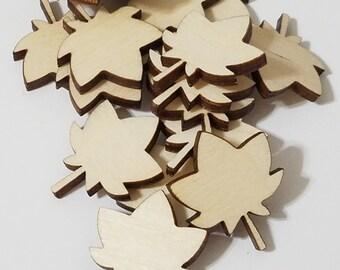 Wooden DIY Maple Leaf Wooden Cut Outs ( Embellishments, Scrap Booking , etc..)