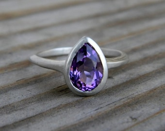 Amethyst Solitaire, Sterling Silver Pear Ring, Purple Gemstone Ring, February Birthstone Rings, Recycled Silver Ring